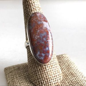 Jewelry - Natural Red Moss Agate Ring Size 9